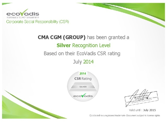 2014 09 15 - CMACGM 2014 Ecovadis certification