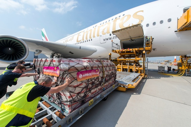 A380 Emirates 50th delivery loading