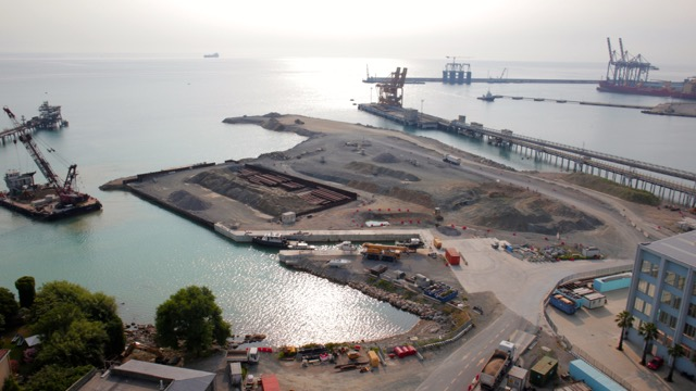 APM Terminals Vado Italy port construction site aerial photo