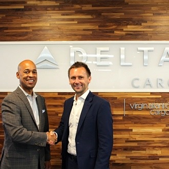 Delta Cargo VP Shawn Cole and Virgin Atlantic Cargo MD Dominic Kennedy