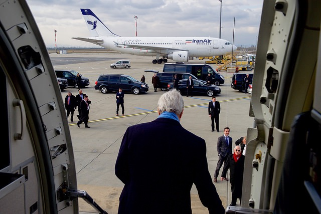 John Kerry arriving in Vienna
