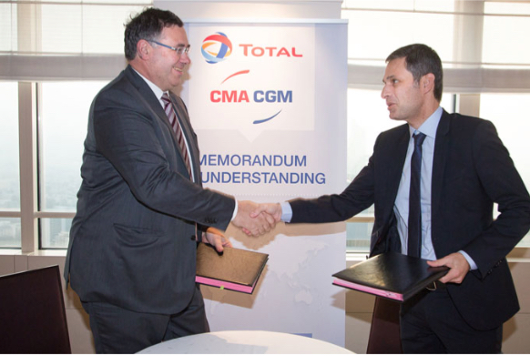 Patrick Pouyanne Chairman and Chief Executive Officer of Total and Rodolphe Saade Vice President of CMA CGM